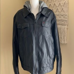 Levi's Faux Leather jacket gray hoodie XLARGE